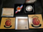Lot Of 2 2020 Us Silver 1 And Clad 50c Basketball Hall Of Fame Coins W/coaandnbsp