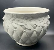 Mccoy Pottery Quilted Leaves Berries Large Jardiniere Matte White 10 X 9