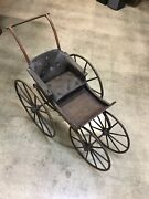 Antique Baby Stroller Vintage Wooden Carriage Buggy