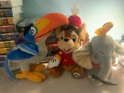 Disney Bean Bag Plush Dumbo With Tag, Zazu With Tag And Timmy With Tag