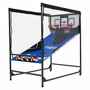 Hall Of Games Premium Arcade Cage Basketball Game Black/blue 80and039and039 X 54and039and039 X 88and039