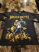 Megadeth T Shirt Vintage 90s 1991 Vic Goes To Hell All Over Print Made In Usa Xl