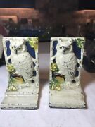 Hand Crafted Owl Book Shelf Book Ends - Cast Iron Owls Hand Painted