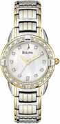 Bulova 98r125 Two Tone Mother Of Pearl Dial Diamond Accent Womens Dress Watch