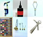 Fly Tying, Fly Fishing Materials And Tools, Multiple Items, Vise, Glue, Thread