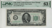 1934 D 100 Federal Reserve Note Chicago Fr.2156-g Pmg Choice Unc 63 Epq 179a