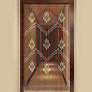 Natural Wood And Bamboo Beaded Curtain Fly Screen For Bath Bedroom Porch Doorway