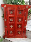 Vintage Style Wooden Red Window Brass Flowers Fitting Indian Wall 2 Doors Frame