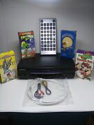 Panasonic Omnivision Loony Tunes Lot 4 Movies Vhs Player + Jumbo Remote + Cables