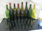 Lot Of 8 Brown And Green Empty Glasss Wine Bottles 750ml