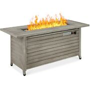 Fire Table Outdoor Aluminum Rectangular Propane Gas Gray Large With Cover