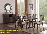 Dining Table W Lower Platform Grey Hues Beautiful Padded Chairs W Side Cut Outs