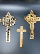Lot Of 3 Vintage Crucifixes Crosses Gold Tone Solid Metal And Wood And Celluloid