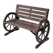 Wooden Front Porch Bench Wagon Garden Patio Furniture Rustic Outdoor Loveseat