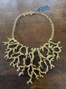 Polished Gold-tone Kenneth Jay Lane Coral Branch Bib Necklace New