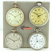 Lot 4 Vintage Pocket Watches Elgin Waltham Equity And New Haven