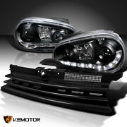 Fits 1999-2006 Vw Golf Black R8 Led Drl Projector Headlights+horizontal Grille