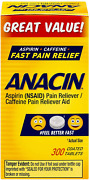 Anacin Fast Pain Relief Aspirin And Caffeine Pain Reliever   300-ct Coated Tablets