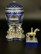 Large Egg Andhorse Limited Edition Trinket Box By Keren Kopal And Austrian Crystals