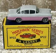 1963 Lesney Matchbox Series No 22 Beautiful Vauxhall Cresta Pink And Grey Clean