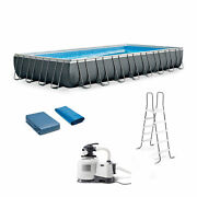 Intex 32ft X 16ft X 52in Ultra Xtr Frame Swimming Pool With Pump For Parts