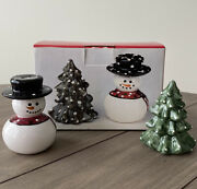 Christmas Village Snowman And Christmas Tree Salt And Pepper Shaker Set Never Used