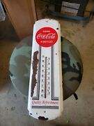 Drink Coca Cola In Bottles Metal Thermometer Sign 17x5