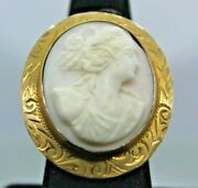Victorian Age 1900and039s Antique Solid Yellow Gold Framed Cameo Broach Pin Pendant