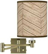 Rustic Woodwork Antique Brass Swing Arm Wall Lamp