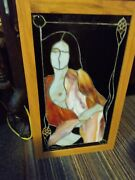 Nude Stained Glass Woman Figure Hanging Panel Art Nouveau Female Form