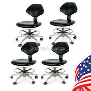 4x Dental Lab Doctor' Assistant Stool Adjustable Height Mobile Chair Pu Leather