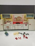 Vintage 1950's Marx Pretty Maid Tin Litho Toy Kitchen Set With Accessories