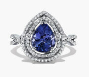 1.40ct Natural Round Diamond Sapphire 14k Solid White Gold Cocktail Ring Size 7