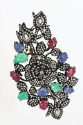 Victorian Pendant Cum Brooch Set With Ruby, Emerald, Blue Sapphire And Diamonds