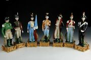 Set Of Seven Enameled Porcelain Figurines. Soldiers. Inspired By 19th Century