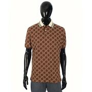 1150 Polo Shirt In Brown Stretch Cotton With Camel Gg Motif Embroidery
