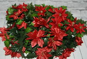 Vintage Christmas Chain Garland Red Poinsettias Mantle Satin Leaves Greenery