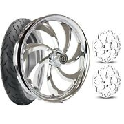 Dna Chrome Storm 21 Front Wheel Tire Dual Rotors Package 08-21 Harley Flh