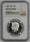 1965 Sms Kennedy Half Dollar 50c Ngc Certified Ms 68 Mint Unc - Cameo 003