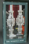 Pair Of Silver Plated Nutcracker Candlesticks Holders 7-5/8 Wm Rogers And Son Nos