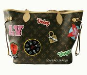 Auth Louis Vuitton Neverfull Travel Patches Voyages Ltd Ed Monogram Mm - New