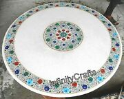 36 Inches Marble Dining Table Top Multi Color Stone Inlaid Coffee Table For Home