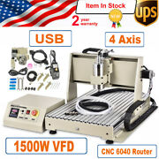 1.5kw Usb 4axis Cnc 6040 Router Engraver Machine Mill 1500w Vfd Spindle Motor Ce