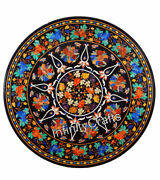 42 Marble Patio Table Top Multi Color Stones Inlaid Dining Table For Home Decor