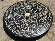 Black Marble Dining Table Top With Inlay Art Office Table For Office In 48 Inch