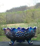 Northwood Grape And Cable Royal Cobalt Blue Carnival Glass Fruit Bowl