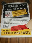 Vintage Dr Hess Farm Poultry Chicken Worm Powder Advertising Farm Poster Sign