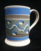 Large Mochaware Mocha Decorated Cable-pattern Tankard In Pearlware