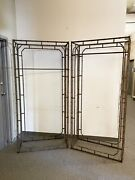 Pair Of Weathered Iron 19th C Victorian Faux Bamboo Gazebo Armature Sections
