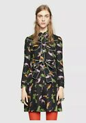 And039toucanand039 Print Silk Shirt Dress In Black Multi Size 42 2800